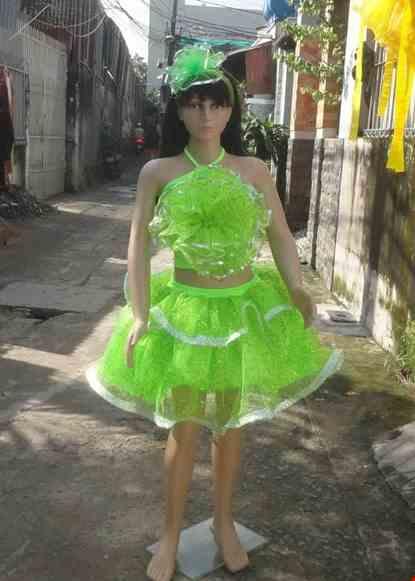 Cho thue Áo váy kim sa trẻ em xanh cốm bông ngực