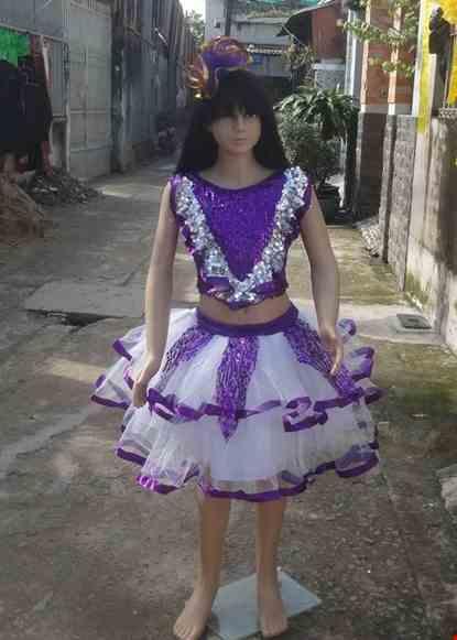 Cho thue Áo váy kim sa trẻ em màu tím bèo cổ chữ V