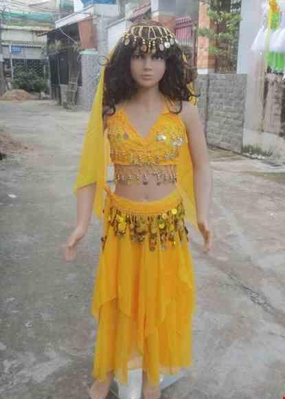 Cho thue Trang phục múa bụng (belly dance) trẻ em áo váy kim sa vàng