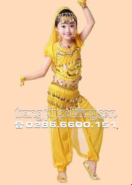 Cho thue Trang phục múa bụng (belly dance) trẻ em áo quần kim sa vàng