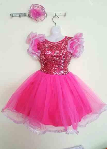 Cho thue Đầm múa trẻ em kim sa hồng