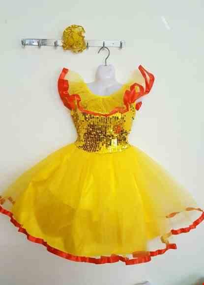 Cho thue Đầm múa trẻ em kim sa vàng bèo cổ
