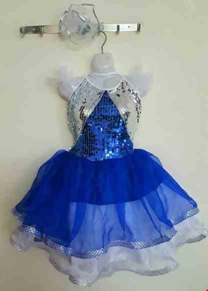 Cho thue Đầm múa trẻ em kim sa xanh bích phối trắng ngực tam giác