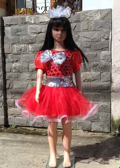 Cho thue Váy múa mầm non kim sa đỏ nơ trắng