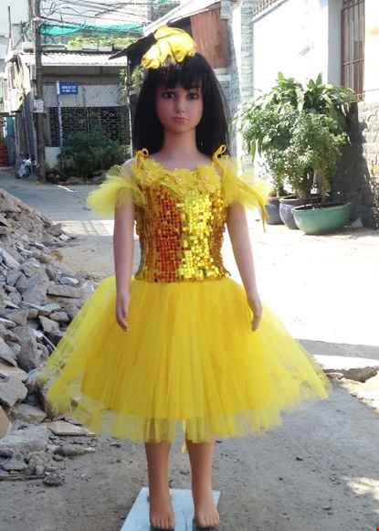 Cho thue Váy múa mầm non kim sa vàng dán hoa