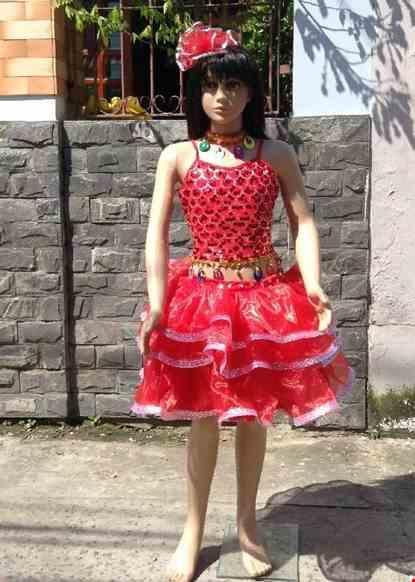 Cho thue Áo váy múa trẻ em kim sa đỏ váy 3 tầng đính đá