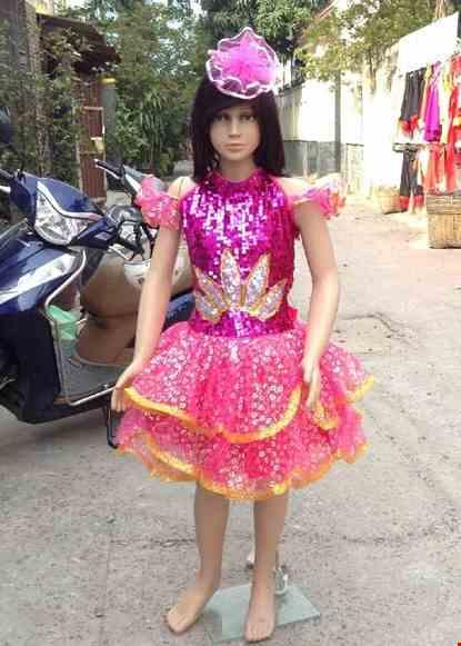 Cho thue Váy múa trẻ em kim sa hồng ngực cánh sen trắng