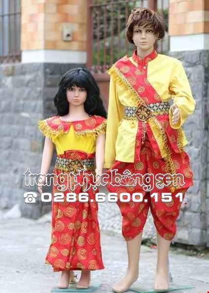 Cho thue Trang phục Campuchia trẻ em vàng đỏ xoắn ốc