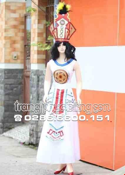 Cho thue Đầm múa Âu Lạc nữ trắng đai 2 tầng