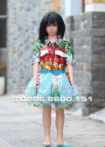 Cho thue Trang phục nhảy hiện đại trẻ em áo kim sa đủ màu váy xanh