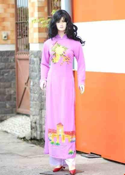 Cho thue Áo dài chiffon tím vẽ hoạ tiết dán hoa 3D