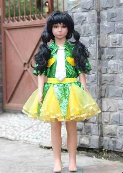 Cho thue Trang phục nhảy hiện đại trẻ em áo kim xanh lá váy vàng