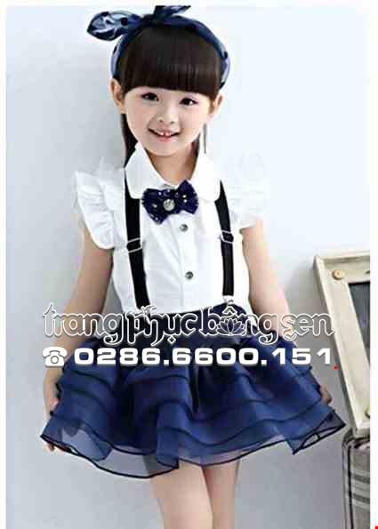 Cho thue Đồng phục múa - Áo váy trẻ em màu xanh