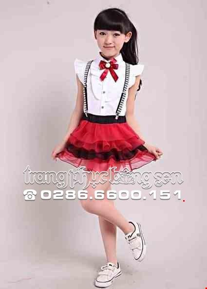 Cho thue Đồng phục múa - Áo váy trẻ em màu đỏ