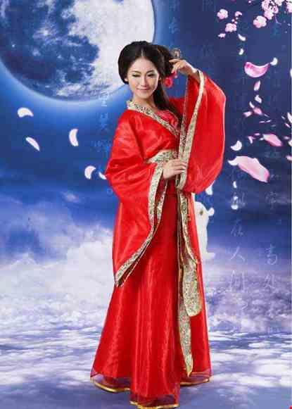 Cho thue Trang phục Hằng Nga cổ trang phi đỏ đai gấm