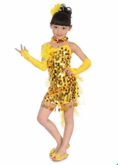 Cho thue Trang phục nhảy LaTinh mầm non màu vàng