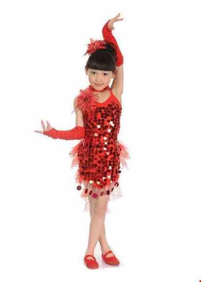 Cho thue Trang phục nhảy LaTinh mầm non màu đỏ