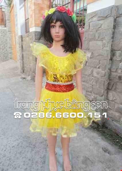 Cho thue Đầm múa mầm non kim sa vàng cổ bèo