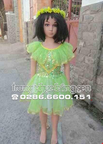 Cho thue Đầm múa mầm non kim sa xanh lá cổ bèo