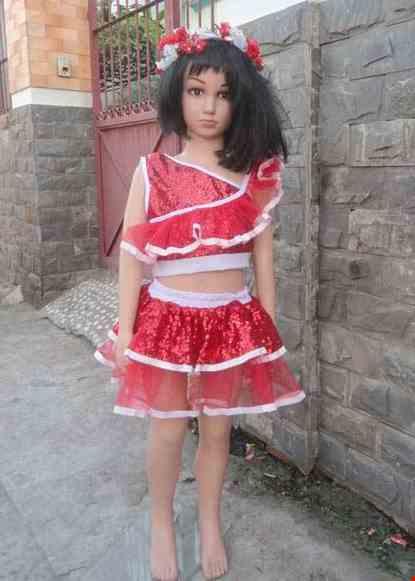 Cho thue Áo Váy kim sa trẻ em màu đỏ