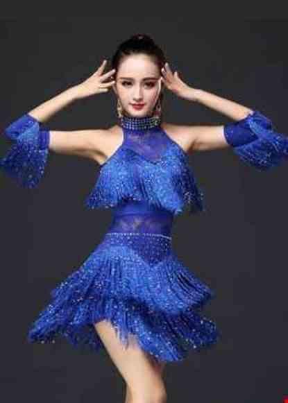 Cho thue Đầm nhảy Latinh sexydance màu xanh dương