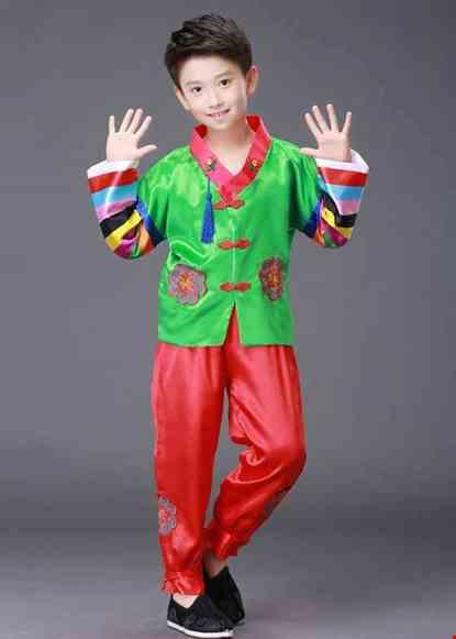 Cho thue Hanbok nam trẻ em xanh lá