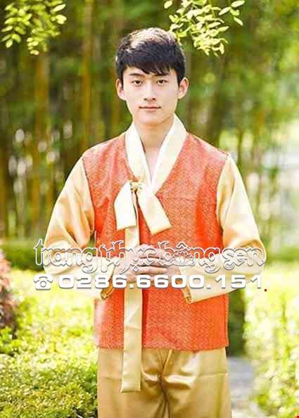 Cho thue Hanbok nam vàng cam