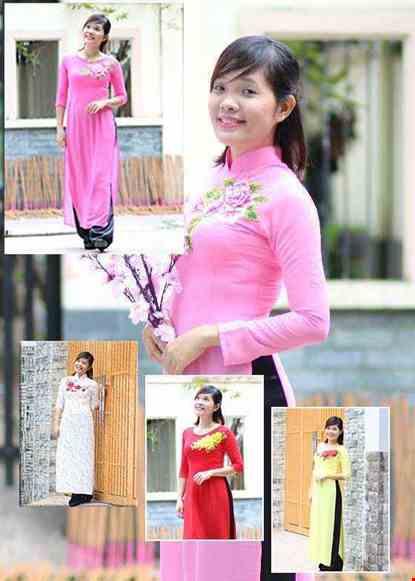 Áo dài nữ vải Chiffon cổ trụ hoa thêu 3D