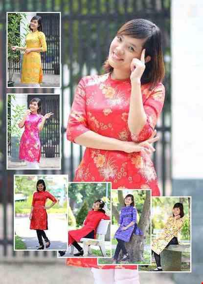 Áo dài nữ cách tân vải gấm